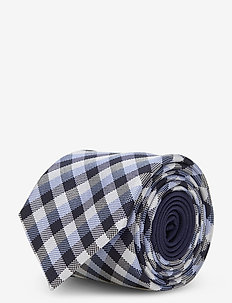 CHECK SILK 7CM TIE - stropdassen - lightblue/navy/white