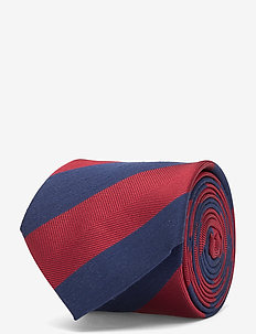 STRIPE SILK BLEND 7CM TIE - stropdassen - navy/red