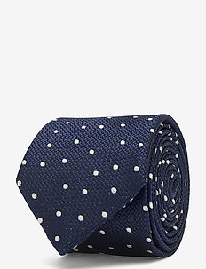DOT SILK BLEND 7CM TIE - slips - navy/white