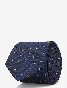 DOT SILK BLEND 7CM TIE - slips - navy/beige