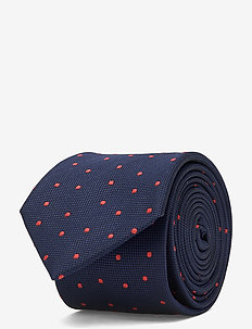 DOT SILK BLEND 7CM TIE - stropdassen - navy/orange