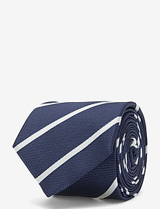 STRIPE 7CM POCKET TIE - stropdassen - navy/white