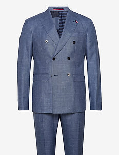 SLIM FIT DB SUIT WITH TURN UP - kostuums met dubbele knopen - blue heather 05