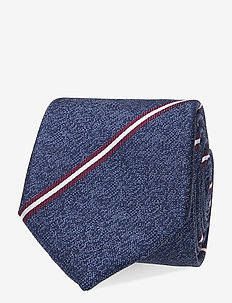 SILK STRIPED TIE - slipsar - navy/ red/ white