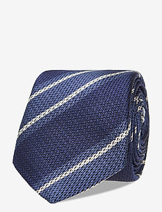 SILK BLEND LARGE STRIPE TIE - slipsar - blue/ navy/ white