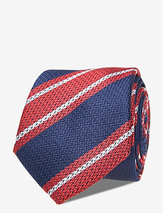 SILK BLEND LARGE STRIPE TIE - slipsar - red/ navy/ white