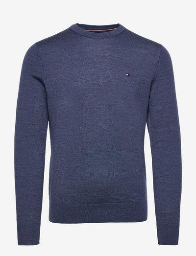 FINE GAUGE MERINO WOOL CREW NECK - basic knitwear - faded indigo heather
