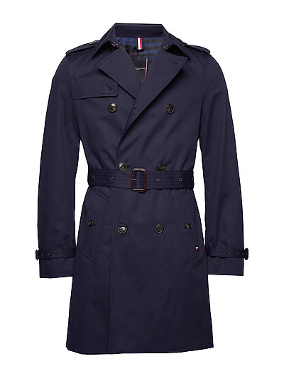 Cotton Trench Coat Trenchcoat Mantel Blau TOMMY HILFIGER TAILORED