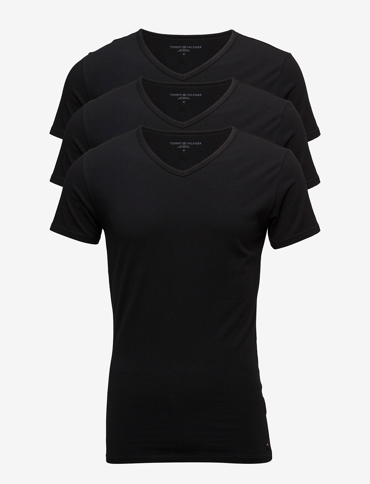 Tommy Hilfiger - STRETCH VN TEE SS 3PACK - t-shirts basiques - black - 0