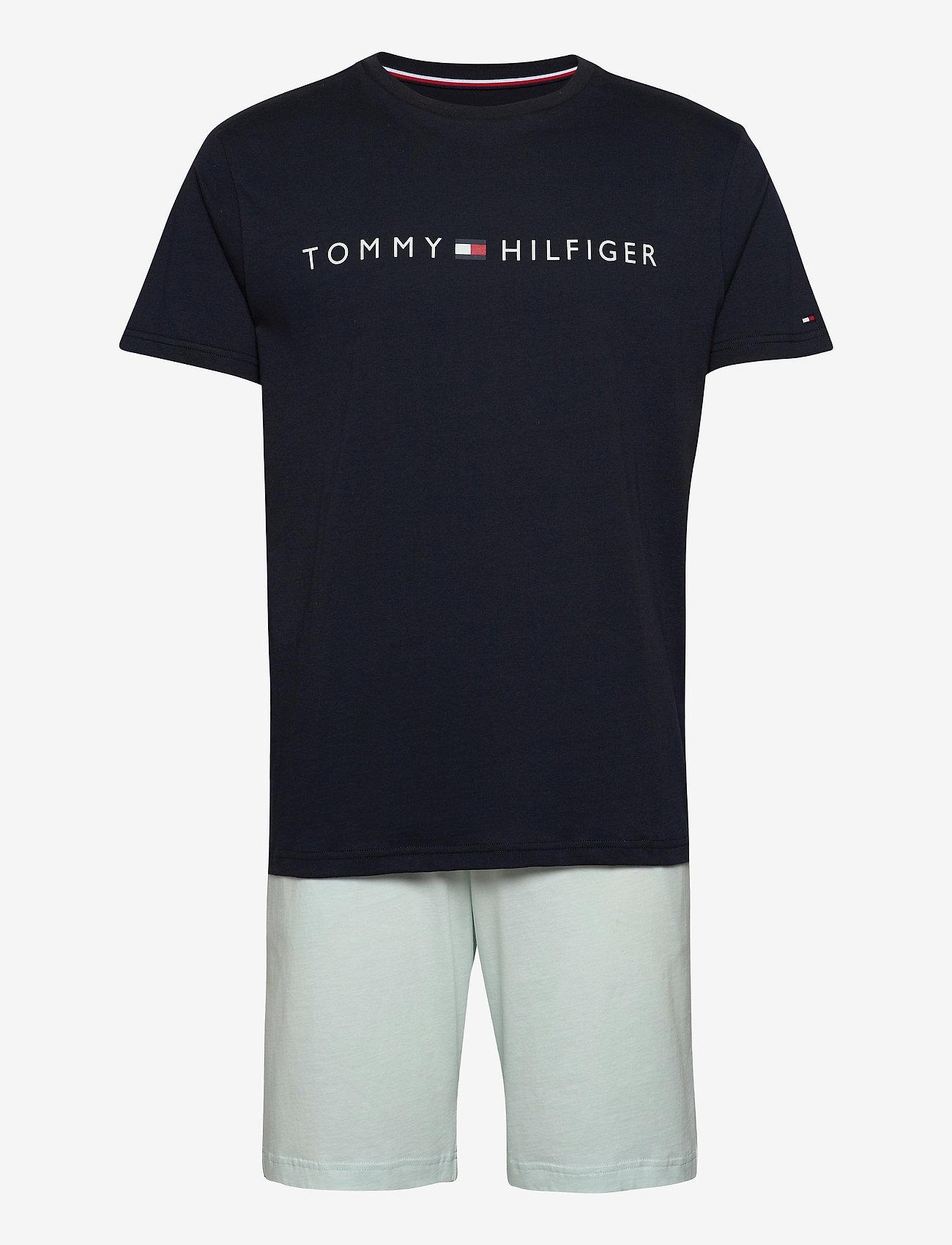 Tommy Hilfiger - CN SS SHORT JERSEY SET - pyjamas - desert sky/luminous blue - 0