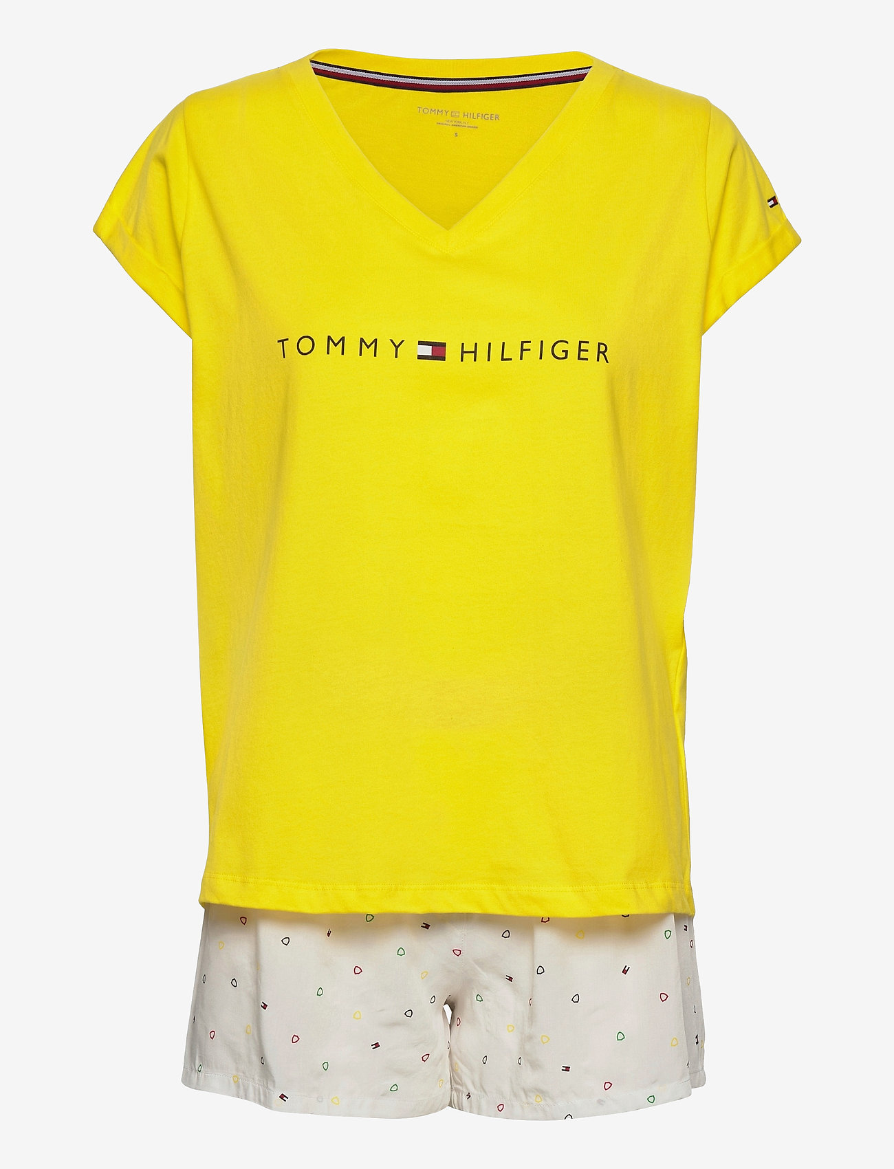 Tommy Hilfiger - SS SHORT SET PRINT - pyjama''s - neon yellow/white - 0