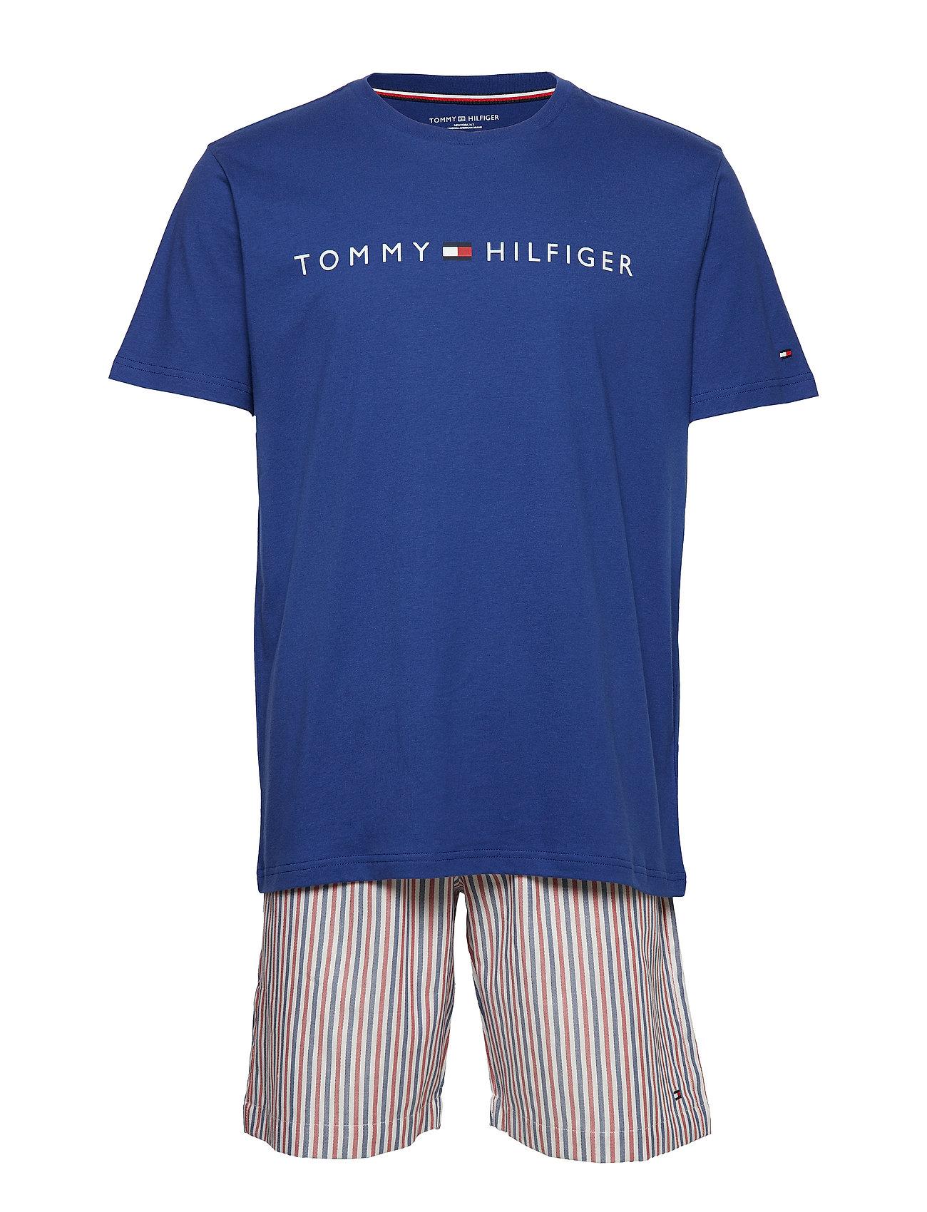 Tommy Hilfiger CN SS SHORT SET WOVEN PRINT - SODALITE BLUE