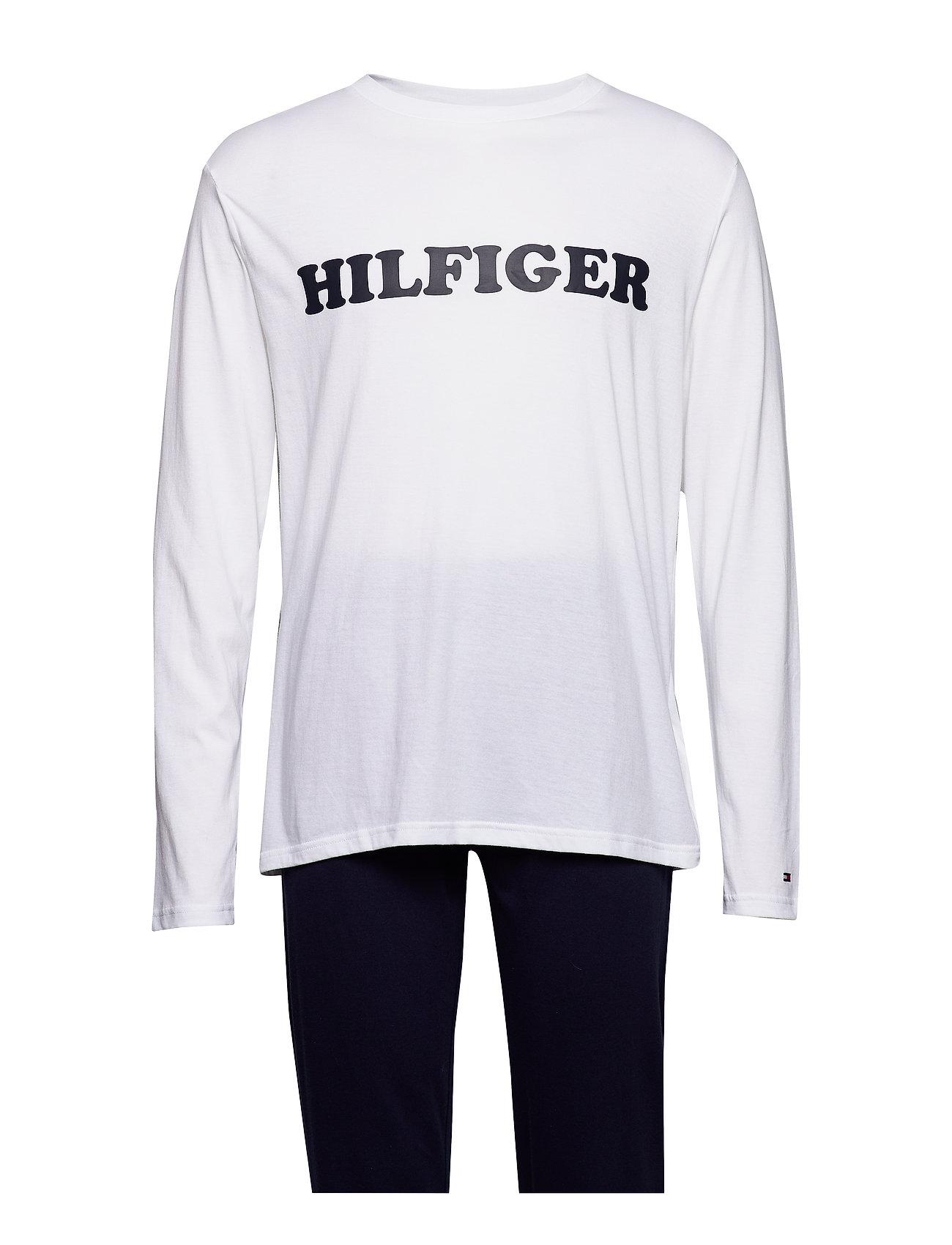 Tommy Hilfiger CN LS PANT JERSEY LO - WHITE/NAVY BLAZER