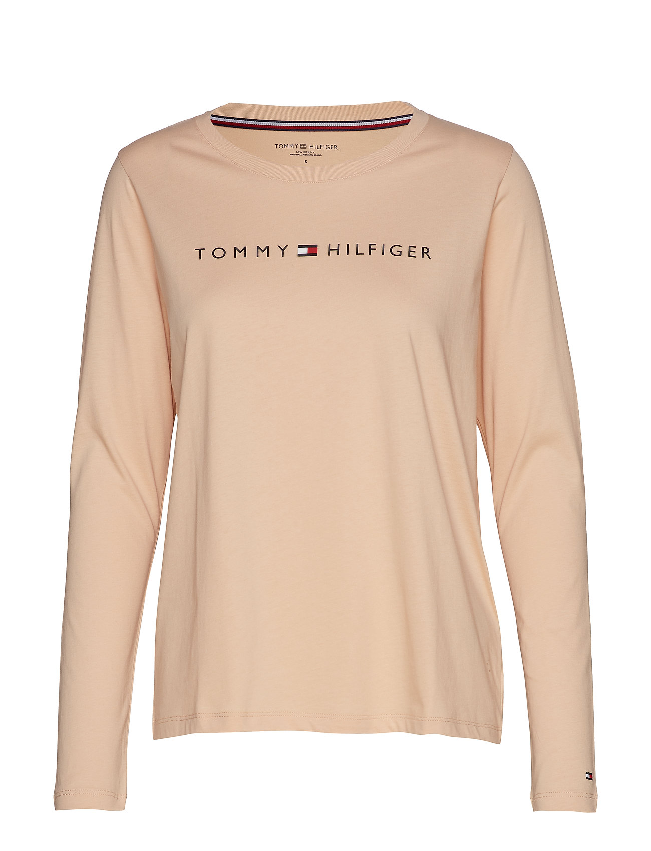 Tommy Hilfiger CN TEE LS LOGO - TOASTED ALMOND