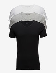 Tommy Hilfiger - STRETCH VN TEE SS 3PACK - t-shirts basiques - black/grey heather/white - 0