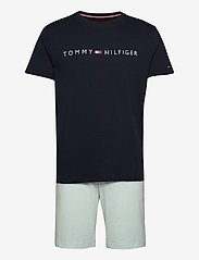 Tommy Hilfiger - CN SS SHORT JERSEY SET - pyjamas - desert sky/luminous blue - 0