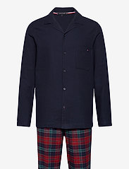 Tommy Hilfiger - LS PANT FLANNEL SHIRT SET - pyjamas - desert sky / regatta red - 0