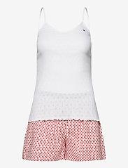 Tommy Hilfiger - CAMI SHORT SET POINTELLE - pyjama''s - white/primary red - 0
