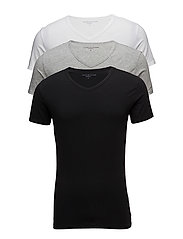 STRETCH VN TEE SS 3PACK - BLACK/GREY HEATHER/WHITE