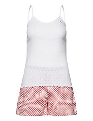 CAMI SHORT SET POINTELLE - WHITE/PRIMARY RED