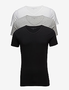 STRETCH VN TEE SS 3PACK - multipack - black/grey heather/white