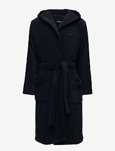 HOODED BATHROBE - morgonrockar - navy blazer