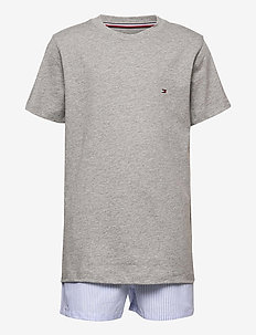 LS PANT SET WOVEN PRINT - pyjamas - greyheather/cornflowerblue