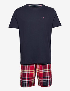 CN SS SHORT WOVEN SET CHECK - pyjamas - navyblazer/tangored