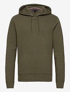 HOODIE LS FZ HWK RIB - basic-sweatshirts - army green