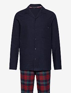 LS PANT FLANNEL SHIRT SET - piżamy - desert sky / regatta red