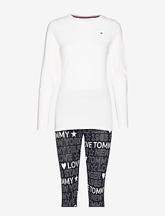 LEGGING SET LS PRINT - WHITE/NAVY BLAZER
