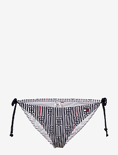STRING SIDE TIE BIKI - bikini bottoms - logo str - white