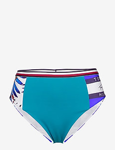 CHEEKY HIGH WAIST BI - bikinitrosor - palm tropic - white
