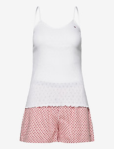 CAMI SHORT SET POINTELLE - pyjama''s - white/primary red