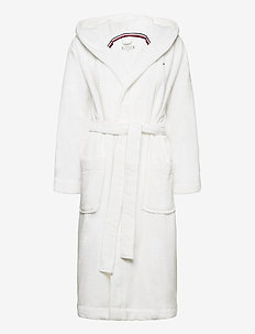 HOODED BATHROBE - pegnoirs - classic white