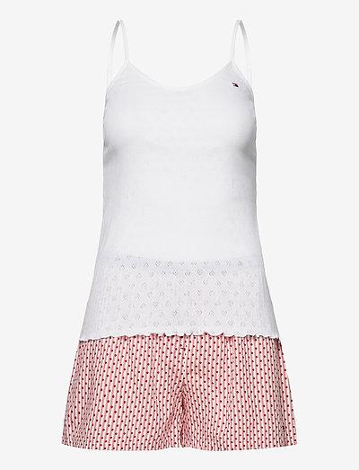 CAMI SHORT SET POINTELLE - pyjama''s - white/primary red