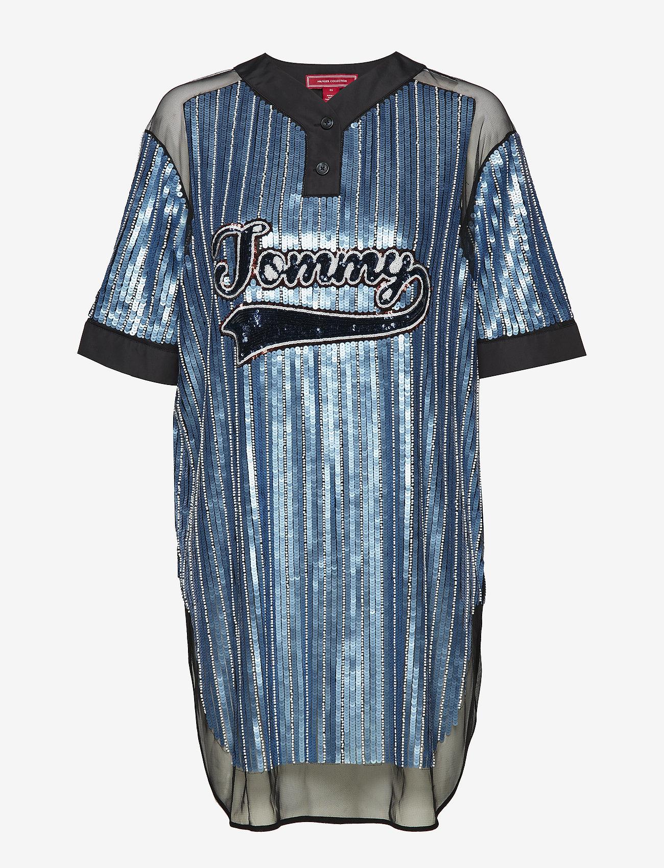 Tommy Hilfiger - SEQUINED BASEBALL SHIRT DRESS SS - t-skjortekjoler - forever blue / multi - 0