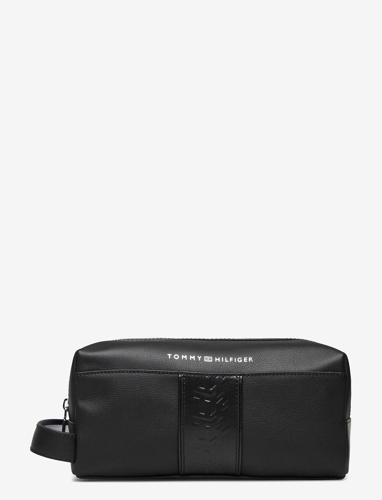 Tommy Hilfiger - LEATHER WASHBAG - bum bags - black - 0