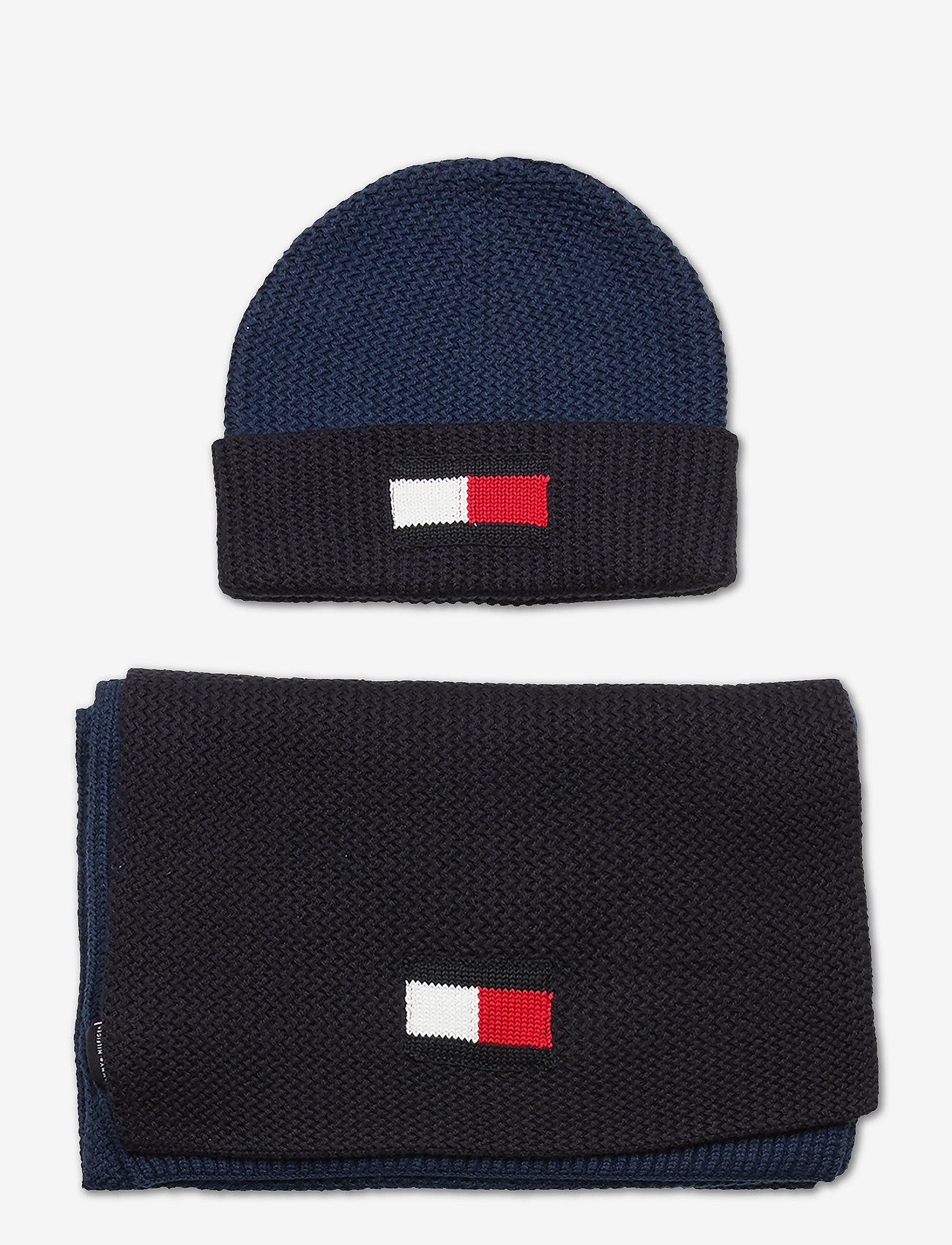 Tommy Hilfiger - BIG FLAG SCARF & BEANIE - bonnet - faded indigo - 0