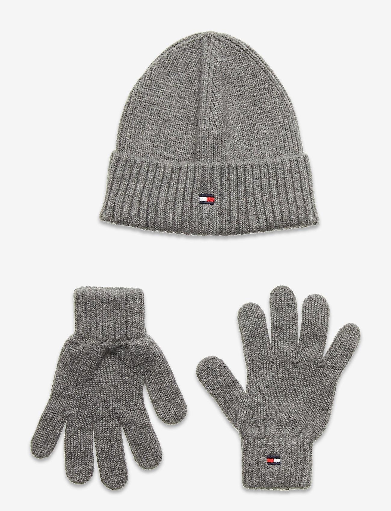 Tommy Hilfiger - FLAG KNIT BEANIE & GLOVES GP - hatte og handsker - light grey heather - 0