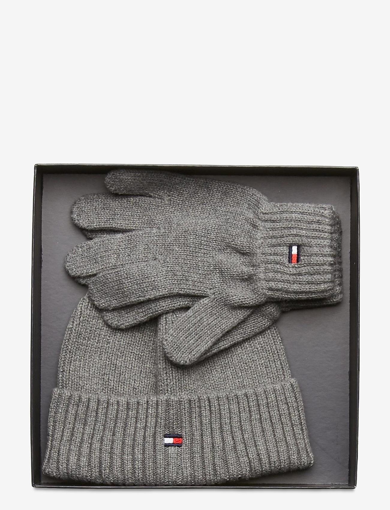 Tommy Hilfiger - FLAG KNIT BEANIE & GLOVES GP - hatte og handsker - light grey heather - 1