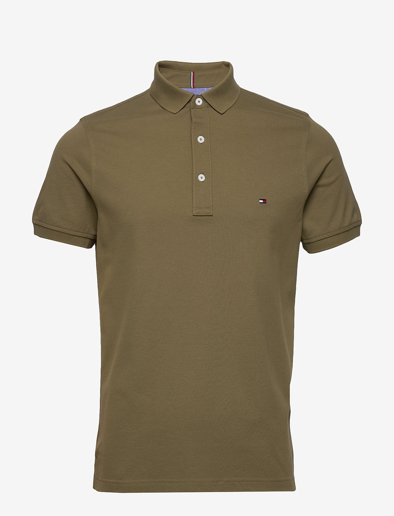 Tommy Hilfiger - TOMMY SLIM POLO - kortermede - faded military - 0