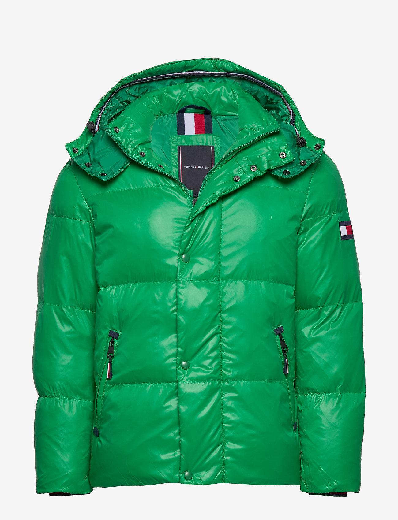 Tommy Hilfiger - SHINY HOODED BOMBER - padded jackets - jolly green - 0