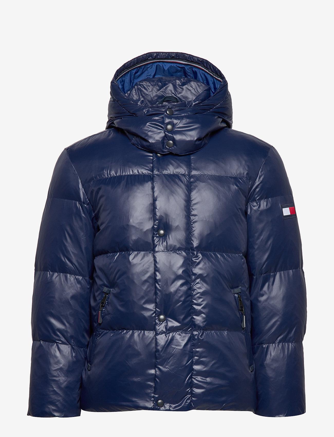 Tommy Hilfiger - SHINY HOODED BOMBER - padded jackets - maritime blue - 1