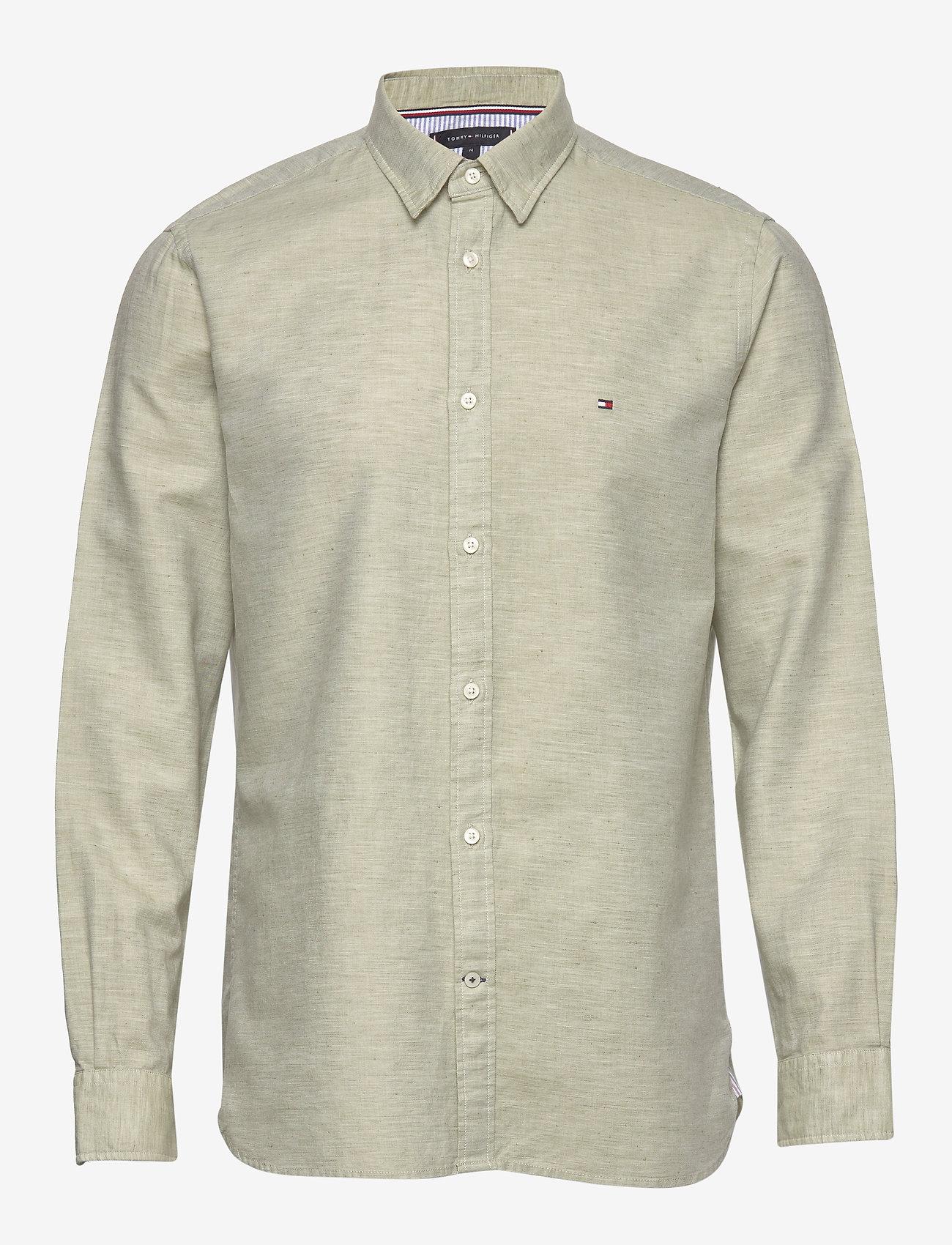 Tommy Hilfiger - COTTON LINEN TWILL SHIRT - basic shirts - faded olive - 0