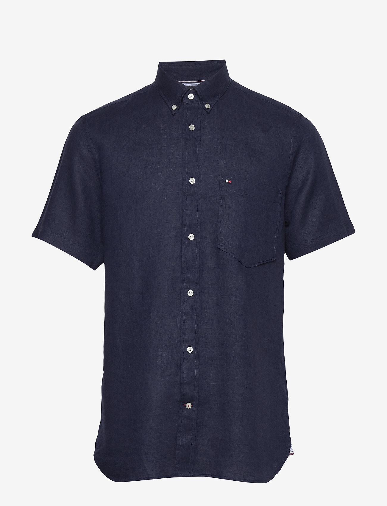 Tommy Hilfiger - LINEN SHIRT S/S - linen shirts - blue ink - 0