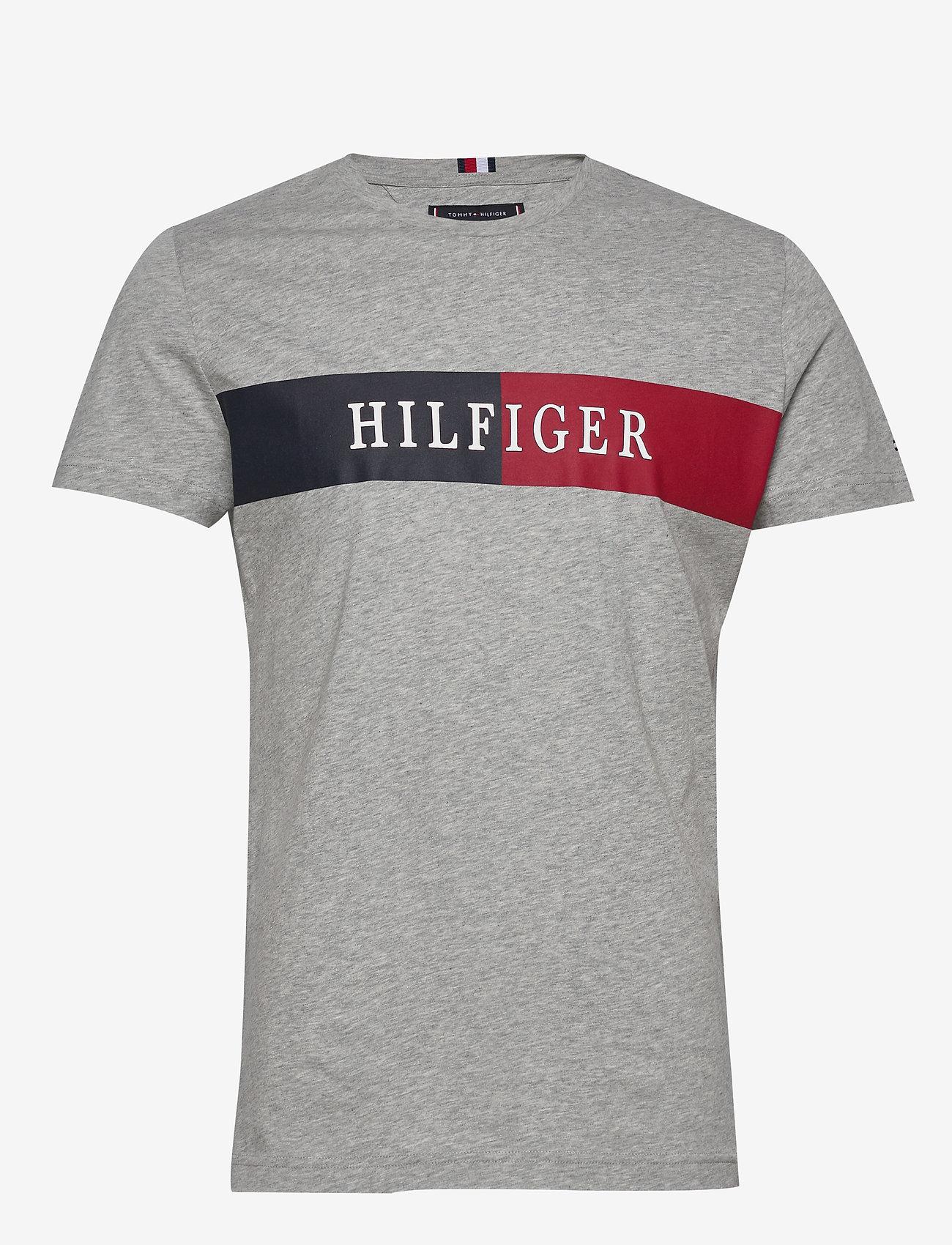 Tommy Hilfiger - BLOCK STRIPE HILFIGE - short-sleeved t-shirts - medium grey heather - 0