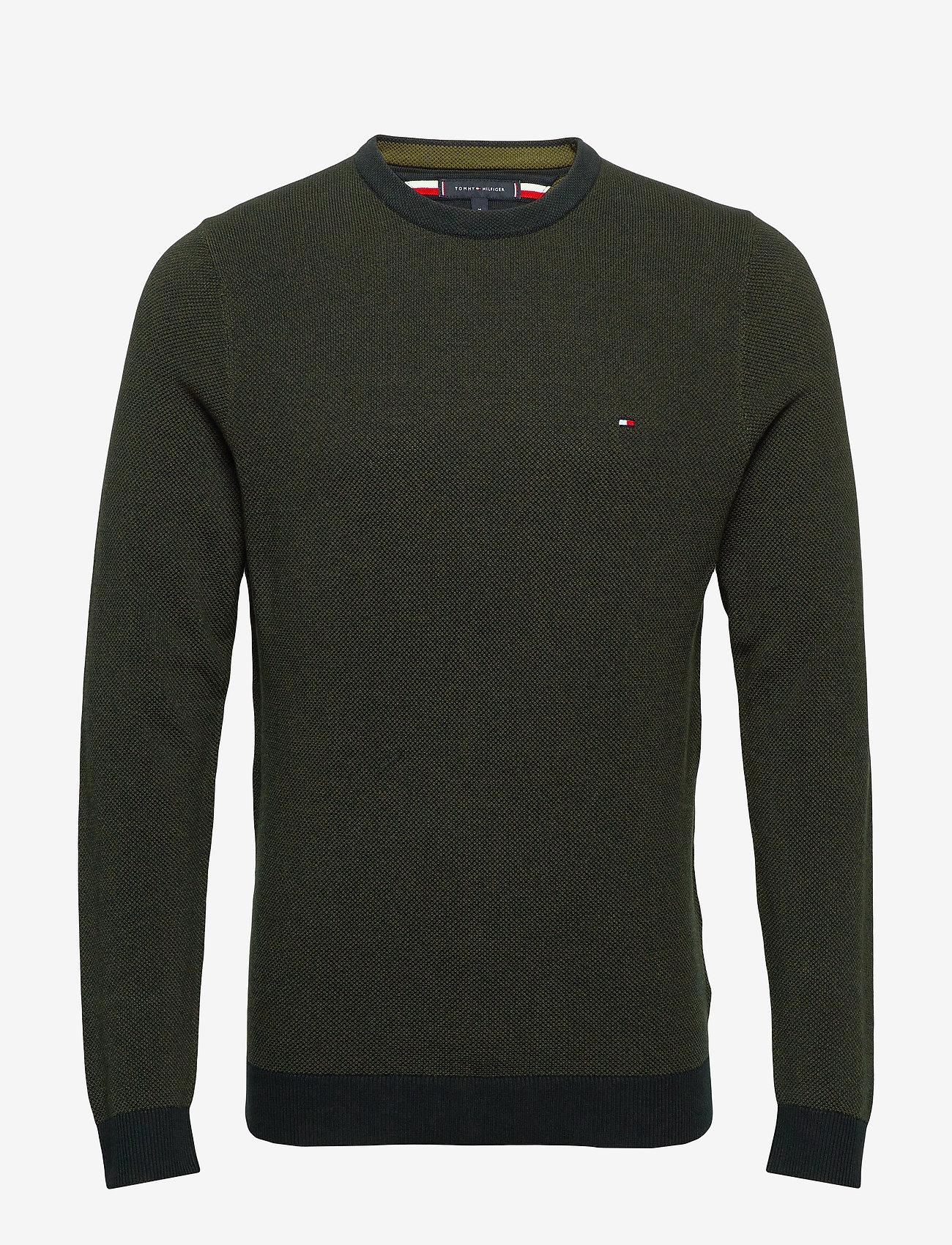 Tommy Hilfiger - MOULINE STRUCTURE CREW NECK - tricots basiques - camo green - 0