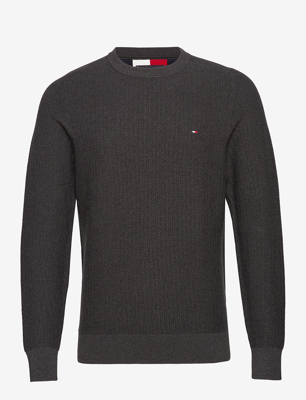Tommy Hilfiger - BOLD TEXTURED COTTON SWEATER - basic strik - charcoal heather - 0