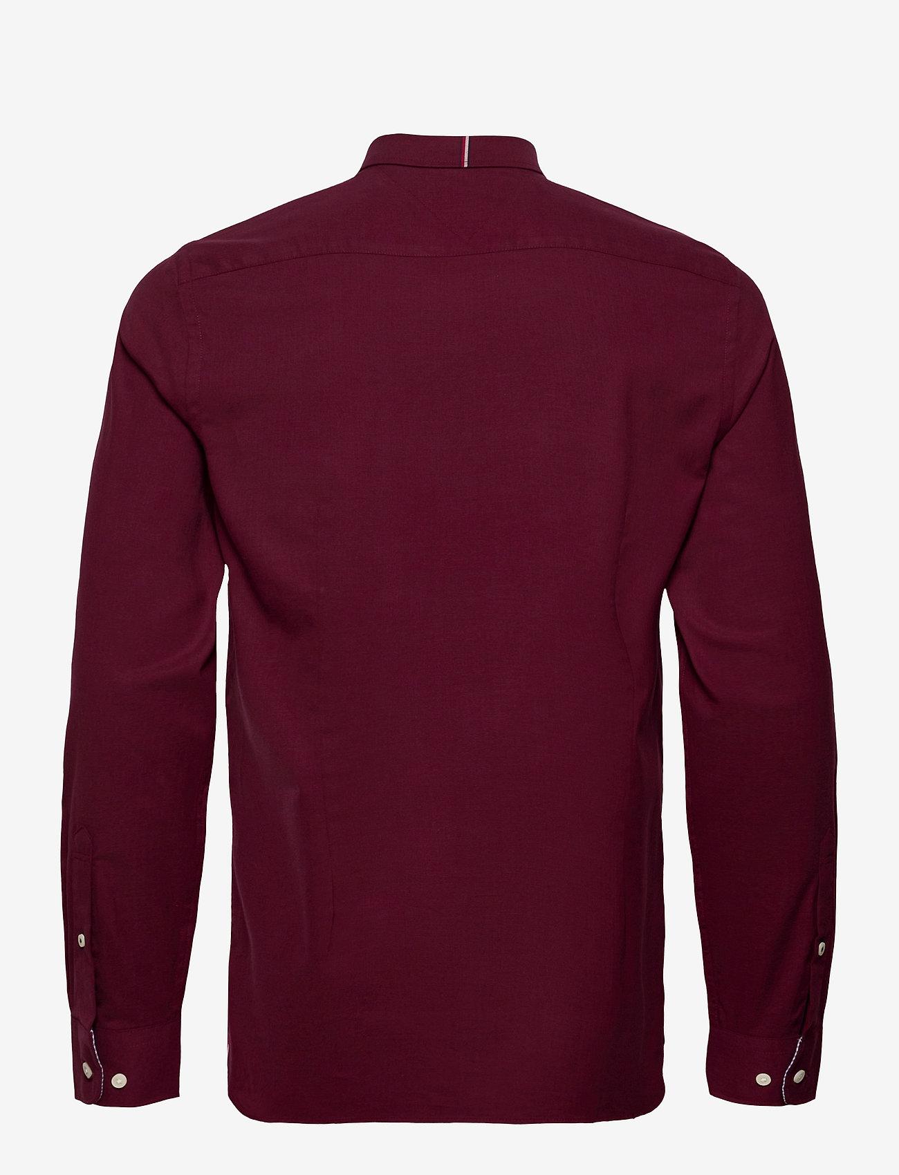 Tommy Hilfiger - SLIM FLEX HERRINGBONE SHIRT - casual shirts - deep burgundy heather - 1